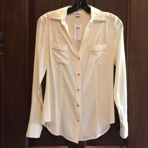 NWT Cache ivory blouse with gold embellishment